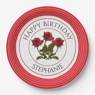 Personalize:  Birthday Red Rose Floral Photography 9 Inch Paper Plate