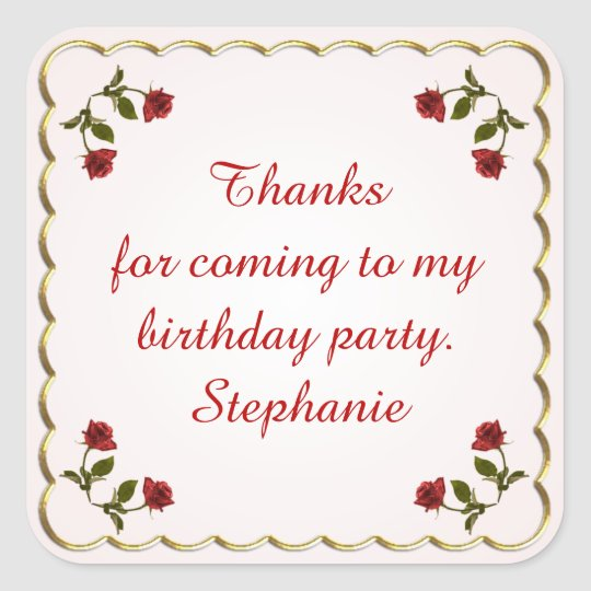 Personalize: Birthday Thank You  -  Red Roses Square Sticker