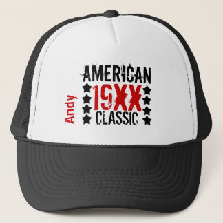 Personalize Birthday Year Name BLACK RED WHITE V01 Trucker Hat