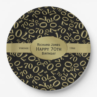 Personalize:  Black and Gold 80th Birthday Theme Paper Plate