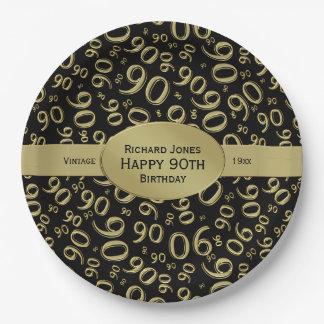 Personalize:  Black and Gold 90th Birthday Theme Paper Plate