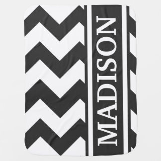 Personalize Black and White Chevron Stripe Pattern Baby Blanket