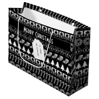 Personalize: Black and White Christmas Stripes Large Gift Bag