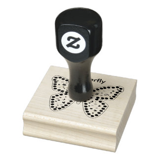 Personalize: Black and White Doodle Art Butterfly Rubber Stamp
