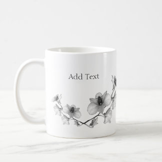 Personalize Black and White Orchid Coffee Mug