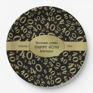 Personalize:  Black/Gold 40th Birthday Party Theme Paper Plate
