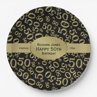 Personalize:  Black/Gold 50th Birthday Party Theme Paper Plate