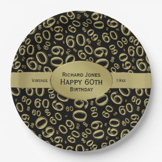 Personalize:  Black/Gold 60th Birthday Party Theme Paper Plate