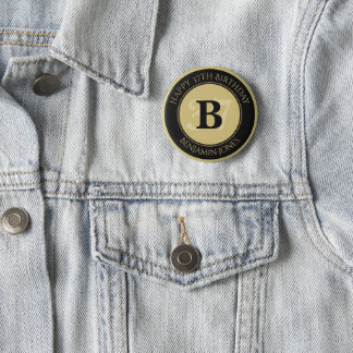 Personalize: Black/Gold Bold Initial and Age 2 Inch Round Button