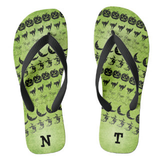 Personalize: Black/Green  Halloween Font Art Flip Flops