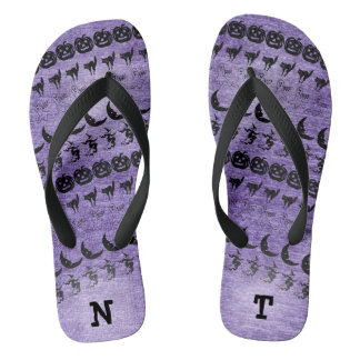 Personalize: Black/Purple Halloween Font Art Flip Flops