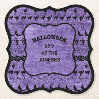 Personalize: Black/Purple Halloween Font Art Paper Coaster