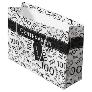 Personalize: Black/White 100th Birthday Party Large Gift Bag