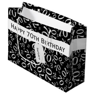 Personalize: Black/White 70th Birthday Party Large Gift Bag