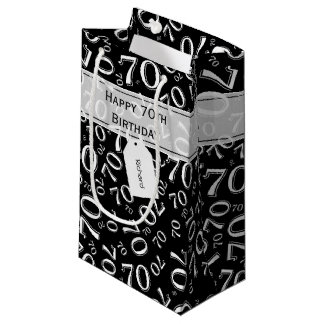 Personalize: Black/White 70th Birthday  (S) Small Gift Bag