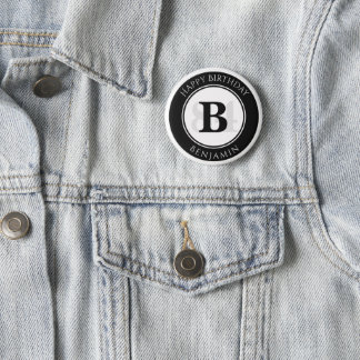 Personalize: Black/White Bold Initial and Age 2 Inch Round Button