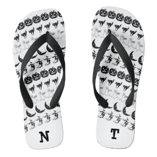 Personalize: Black/White Halloween Font Art Flip Flops