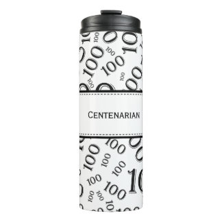 Personalize: Black/White Number 100 Random Pattern Thermal Tumbler