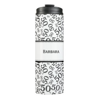 Personalize: Black/White Number 50 Random Pattern Thermal Tumbler