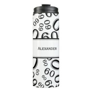 Personalize: Black/White Number 60 Random Pattern Thermal Tumbler