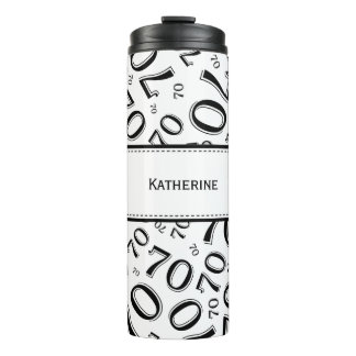 Personalize: Black/White Number 70 Random Pattern Thermal Tumbler