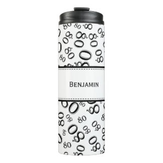 Personalize: Black/White Number 80 Random Pattern Thermal Tumbler