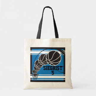 Personalize Blue Basketball Tote Bag