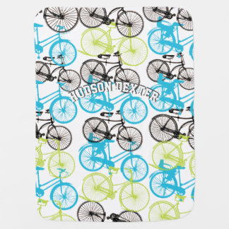 Personalize Blue Green Gray Vintage Bicycle Baby Baby Blanket