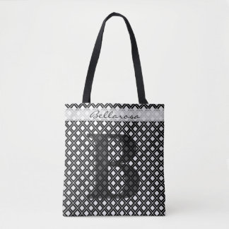 Personalize: Bold Initial Black/White Geometric Tote Bag