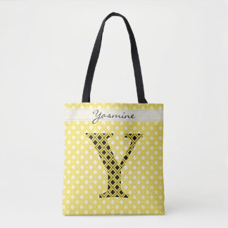 Personalize: Bold Initial Yellow/Black Geometric Tote Bag