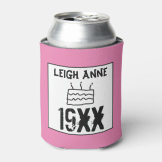 Personalize Born in Custom Date Birthday Pink Can Cooler
