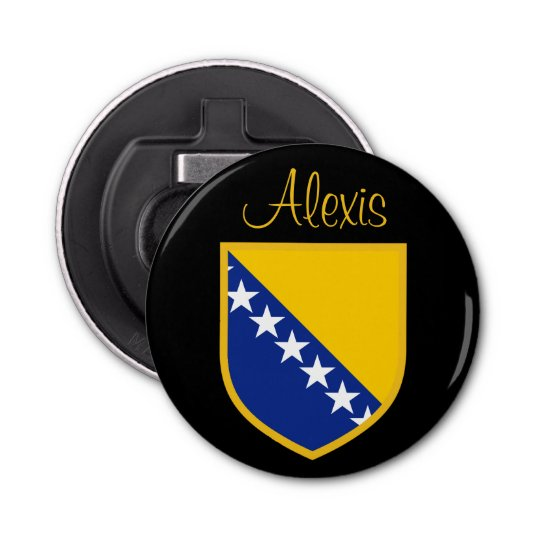 Personalize Bosnia Flag Button Bottle Opener