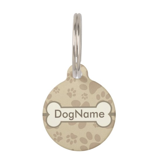 Personalize Brown Dog Paw Prints Pet ID Tag