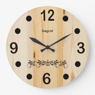 Personalize Butcher Block Wood Wall Clock