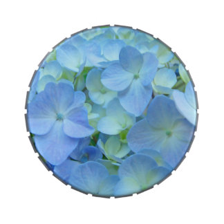 Personalize Candy Tins Blue Hydrangea flowers