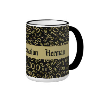 Personalize:  Centenarian, 100th Birthday Gift Ringer Coffee Mug