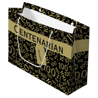 Personalize:  Centenarian, 100th Birthday Theme Large Gift Bag