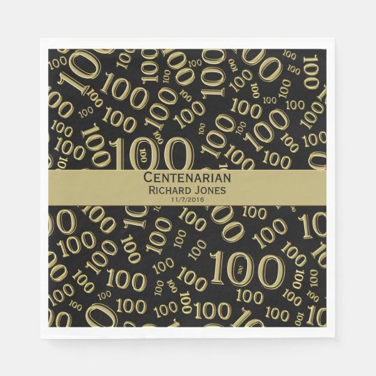 Personalize:  Centenarian, 100th Birthday Theme Paper Napkins