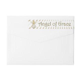 Personalize: Christmas Angel of Grace Filigree Wraparound Return Address Label