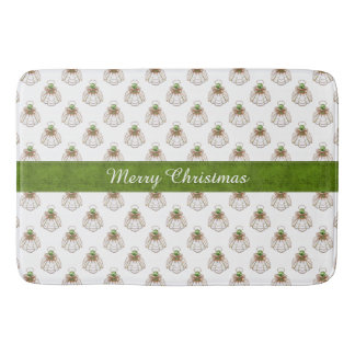 Personalize Christmas Angel of Hope Green & Copper Bathroom Mat