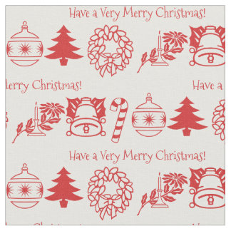 Personalize: Christmas Red/White Font Art Fabric