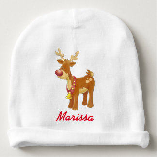 Personalize Christmas Reindeer Baby Beanie