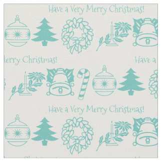 Personalize: Christmas Teal/White Font Art Fabric