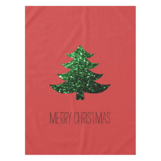 Personalize Christmas tree green sparkles on Red Tablecloth