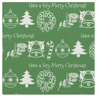 Personalize: Christmas White/Green Font Art Fabric