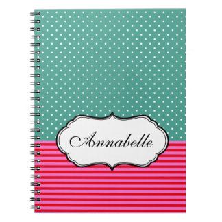 Personalize Classic Polkadots Stripes Teal Pattern Spiral Notebook