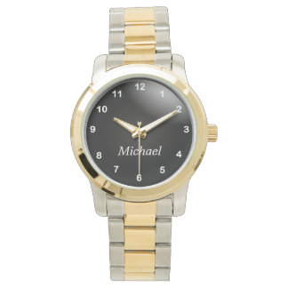 Personalize Classy Black and White Numbers Wristwatch