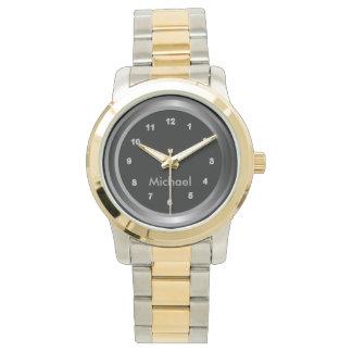 Personalize Classy Silver Black Design Wrist Watch