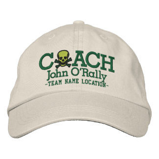Personalize Coach Skull Cap Your Name Your Game! Embroidered Baseball Cap