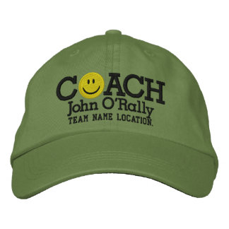 Personalize Coach Smiley Cap Your Name Your Game! Embroidered Baseball Cap